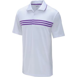 adidas Mens Short Sleeve Golf Polo   Size 2xl, White/purple