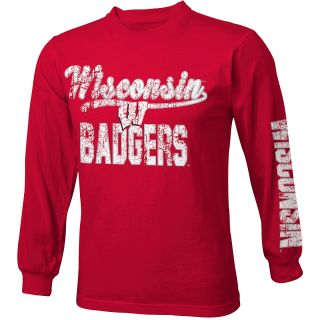 adidas Youth Wisconsin Badgers Printed Crew Long Sleeve Shirt   Size Medium,