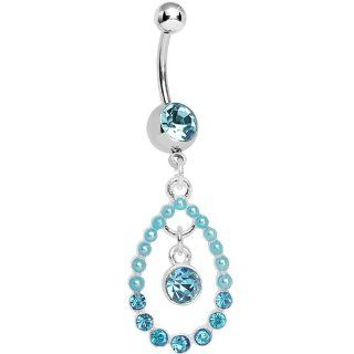 Blue Gem Faux Pearl Teardrop Dangle Belly Ring Body Candy Jewelry