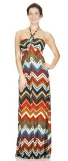 Classic Designs Womens Beaded Halter Padded Maxi Dress in Silky DTY Fabric