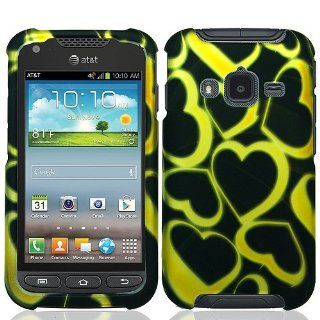 Black Yellow Heart Hard Cover Case for Samsung Galaxy Rugby Pro SGH I547 Cell Phones & Accessories