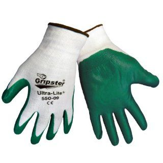 Global Glove 550 Gripster Ultralite Nitrile Glove with Knit Wrist Liner, Work, Extra large, Dark Green/White (Case of 72)