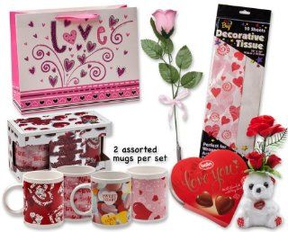 "Valentine Gift Set; Complete with Gift Bag, Tissue Paper, Pink Rose, ""I Love You"" Mini Bear, 2 Valentine Mugs & Balin ""I Love You"" Milk Chocolate  Grocery & Gourmet Food"