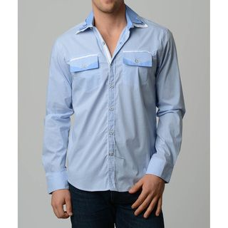 V.I.P. Collection Men's Sky Blue Slim Fit Long Sleeve Button Down Shirt V.I.P. COLLECTION Casual Shirts