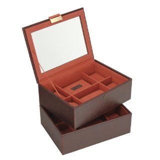 Stackers Classic 12 Section Faux Leather Men's Set of 2 Tiered Watch Box Stacker with Glass Lid, Brown with Orange Canvas Lining   Prints