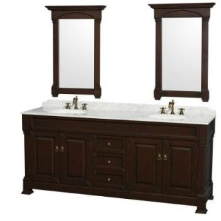 Wyndham Collection Andover 80 in. Vanity in Dark Cherry with Marble Vanity Top in Carrera White with Sink and 2 Mirrors WCVTRAD80DDCCMUNDM28