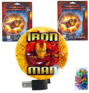 3 Pack Marvel Iron Man Night Lights for Boys (with ON/OFF Switch and Rotating Shade to Direct Light) and a 24 pack of Silly Bands Silicone Bracelets   Nighlights for Boys and Kids