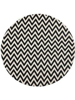Safavieh DHU557L Dhurrie Collection Handmade Wool Round Area Rug, 6 Feet Diameter, Black and Ivory