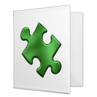 Autism Puzzle Piece Green 3 Ring Binders