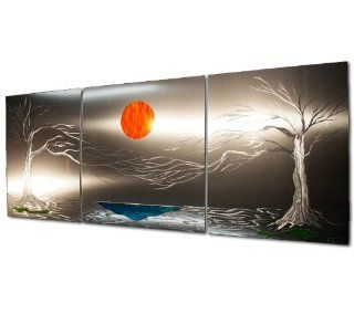 Trees, Lake, Sun Wall Sculpture 'Lavish Coast'   48x20 in.   3 Panel Extra Large Aluminum Landscape Artwork   Metal Art Decor   Abstract Nature Decor