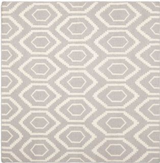 Safavieh Dhurrie Collection DHU556G 8SQ Handmade Wool Square Area Rug, 8 Feet, Grey/Ivory