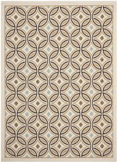 Safavieh VER047 0212 Veranda Collection Indoor/Outdoor Area Rug, 8 Feet by 11 Feet 2 Inch, Cream and Chocolate