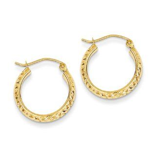 "3.5mm, 14K Yellow Gold Diamond cut Hoops, 22mm (7/8"") Hoop Earrings Jewelry"