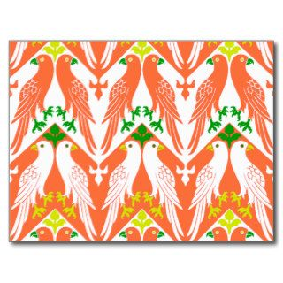 Vintage Bird & Floral Pattern in Orange Post Cards