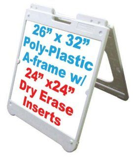 "NEOPlex 26"" x 32"" White Poly Plastic Sidewalk Sandwich Board A frame Sign w/White Dry Erase Insert Panels"