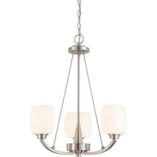 Glomar 3 Light Brushed Nickel Chandelier with Satin White Glass Shade HD 4185