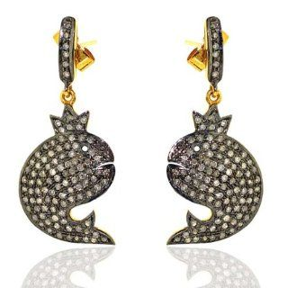 Diamond Pave Fish Drop Earrings 14kt Yellow Gold & Silver Fashion Jewelry Jewelry