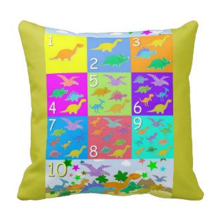 Cute Cartoon Dinosaurs Numbers 1   10 Counting Pillow