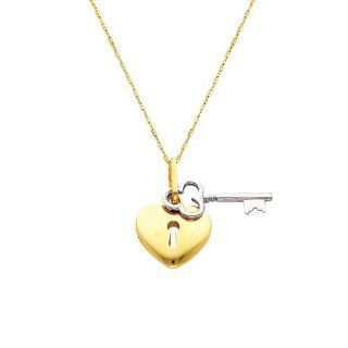 "14K Yellow and white Two Tone Gold Key to My Heart Charm Pendant with 1.0mm Anchor Link Mariner Chain Necklace Set   18"" Inches The World Jewelry Center Jewelry"