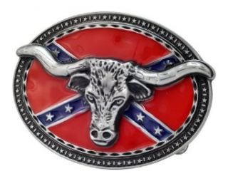 Bull Horns Head Rebel Flag Belt Buckle Western Oval Unique Metal New Hip Cool Clothing