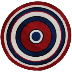 LA Rug Inc. Fun Time Shape Concentric 2 51 in. Round Area Rug FTS 150 51RD