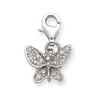 CZ Butterfly Charm Sterling Silver CZ Butterfly Charm Jewelry
