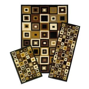 Capri Southwest Tiles 3 Piece Set Contains 5 ft. x 7 ft. Area Rug, Matching 22 in. x 59 in. Runner and 22 in. x 31 in. Mat 5444/373 1