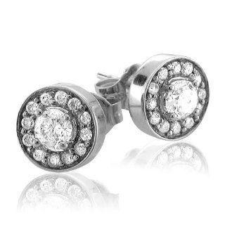 14k White Gold Cluster Diamond Earrings Studs (GH, I1 I2, 0.45 carat) Diamond Delight Jewelry