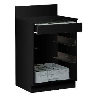 Black Waitress Station 2' Long with Drawer and 4 Adjustable Stainless Steel Rack Holders   Kitchen Storage And Organization Products