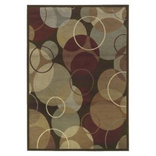 Contemporary Circles Area Rug   Brown (53x73)