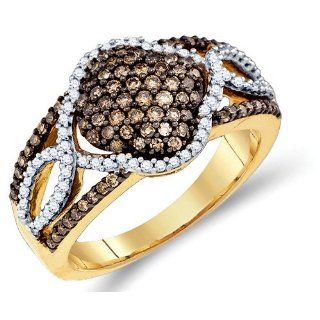Brown and White Diamond Fashion Ring Band 10K Yellow Gold (0.64 ct.tw.) Right Hand Rings Jewelry