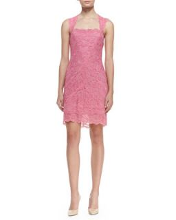 Womens Sleeveless Square Neck Lace Cocktail Dress, Pink   Nicole Miller