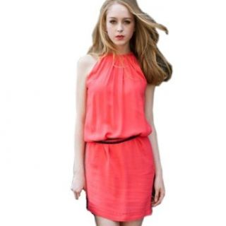 Suge Women's Chiffon Sleeveless Belted Dress US 4 Color Watermelon Red