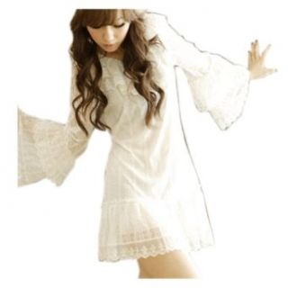 CA Fashion Women's Voile Lace Mini Dress Primer Shirt White Sheer Mini