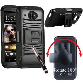 HTC Desire 601 ZARA (Virgin Mobile) Shell Heavy Duty Combo Holster Case with Viewing Stand & Belt Clip   Black/Black (Package include Ultra Sensitive Stylus Pen by BeautyCentral) Cell Phones & Accessories