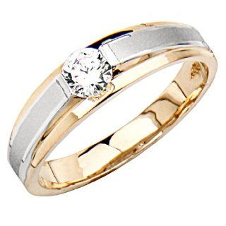 14K Yellow and White Gold Round Top Quality Shines CZ Cubic Zirconia Wedding Band Ring for Men Goldenmine Jewelry