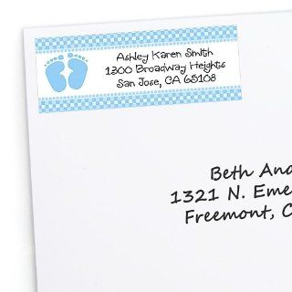 Baby Feet Blue   30 Personalized Baby Shower Return Address Labels Toys & Games