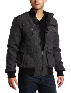 Steve Madden Men's Wool Bomber Coat, CH Herring, Large at  Men�s Clothing store