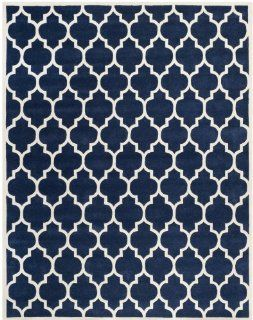Safavieh CHT734C Chatham Collection Wool Handmade Area Rug, 6 Feet by 9 Feet, Dark Blue and Ivory