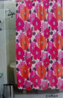 Bright Retro Large Flower Fabric Shower Curtain in Orange, Hot Pink & Raspberry On White With Matching Resin Hook Set