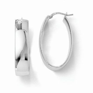 Leslie's 14k White Gold Polished Oval Hinged Hoop Earrings LE576 Jewelry