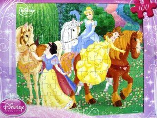 Disney Princess Snow White, Cinderella, Belle with Horses 100 Piece Puzzle Toys & Games