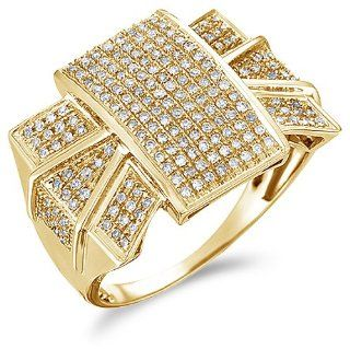 Size   12   10k Yellow Gold Diamond Large Mens Wedding Right Hand Band Invisible Micro Pave Set Round Cut Diamond Ring (.70 cttw) Jewelry