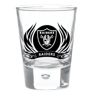 Oakland Raiders 2 oz Round Shot Glass Tribal Flames Officially Licensed Team Logo NFL Football  Sports Fan Shot Glasses  Sports & Outdoors