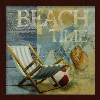 """Beach Time"" Starfish Cabin Beach House Sea Shell 17.5"" x 17.5"" inches Framed Canvas Art Gallery Wrap Painting NVCF 608 [Casa Bonita Decor]   Oil Paintings"