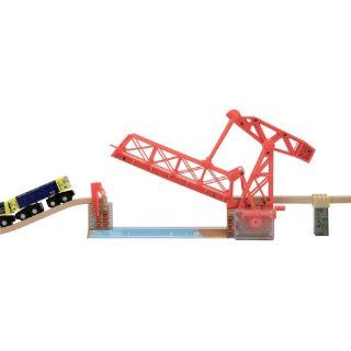 2 Item Bundle Melissa & Doug 628 Over the River Drawbridge Train Track + Free Gift   Fits Thomas Train Tracks Toys & Games