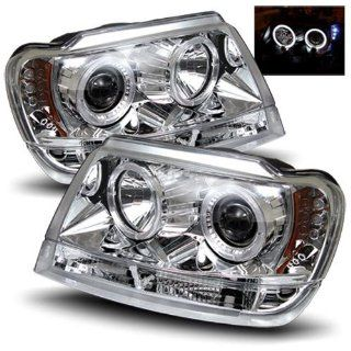 Jeep Grand Cherokee 1999 2004 LED Halo Headlights Chrome (Fits Non Laredo) Automotive