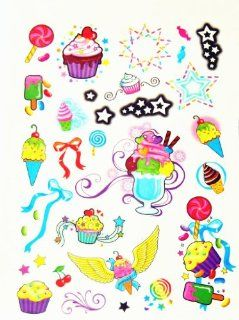 BT0092 Colorful Cake & Ice Cream, Removable Tattoos Easy Fun, Non Toxic, Tattoos Beauty
