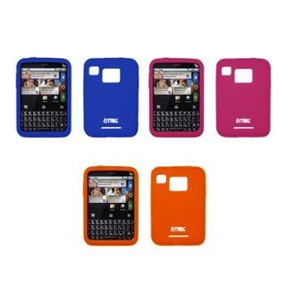 EMPIRE 3 Pack of Silicone Skin Cover Cases (Blue, Hot Pink, Orange) for Motorola Charm MB502 Cell Phones & Accessories