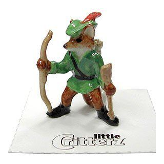 "Fox Red as ""ROBIN HOOD"" n FAIRY TAILZ Series Figurine MINIATURE Porcelain LITTLE CRITTERZ LC646   Collectible Figurines"
